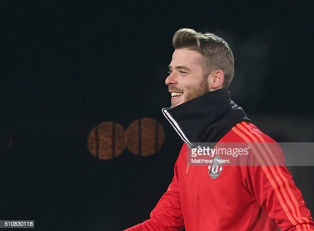 David de Gea of Manchester United in action during a first team training session ahead of their UEFA Europa League match against FC Midtjylland at...