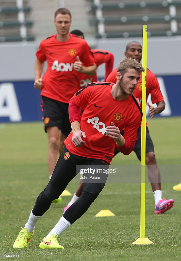 David de Gea of Manchester United in action during a training session as part of their pre-season tour of the United States on July 19, 2014 in Los Angeles, California.