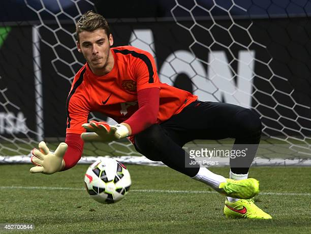 David de Gea of Manchester United in action during an open training session as part of their pre-season tour of the United States at Sports Authority...