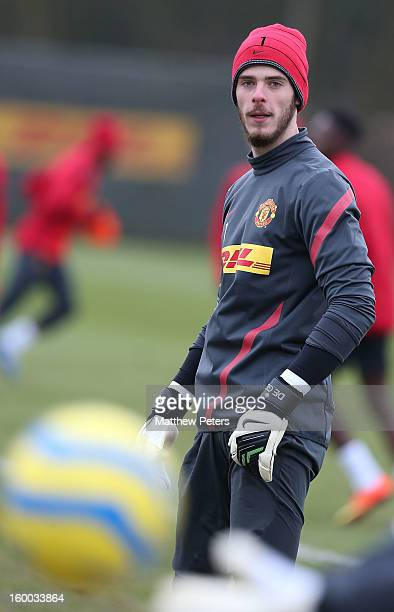David de Gea of Manchester United in action during first team training session at Carrington Training Ground on January 25, 2013 in Manchester,...