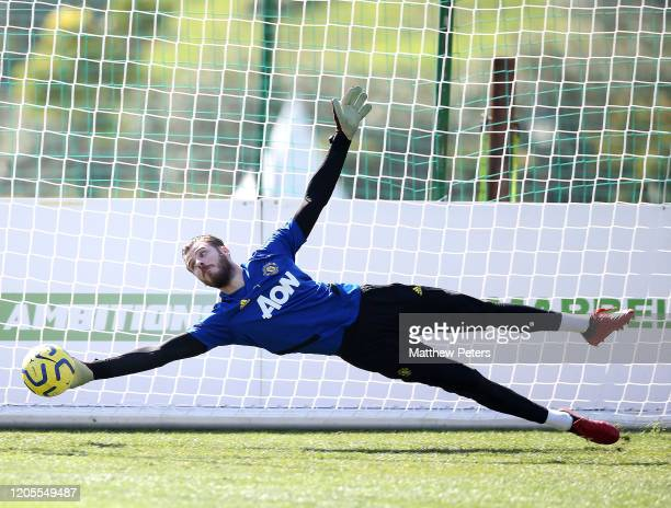 David de Gea of Manchester United in action during first team training session on February 11 2020 in Malaga Spain