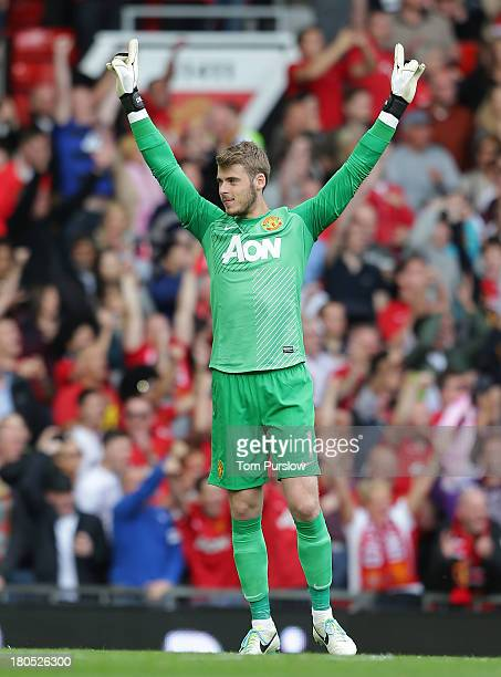 David de Gea of Manchester United in action during the Barclays Premier League match between Manchester United and Crystal Palace at Old Trafford on...