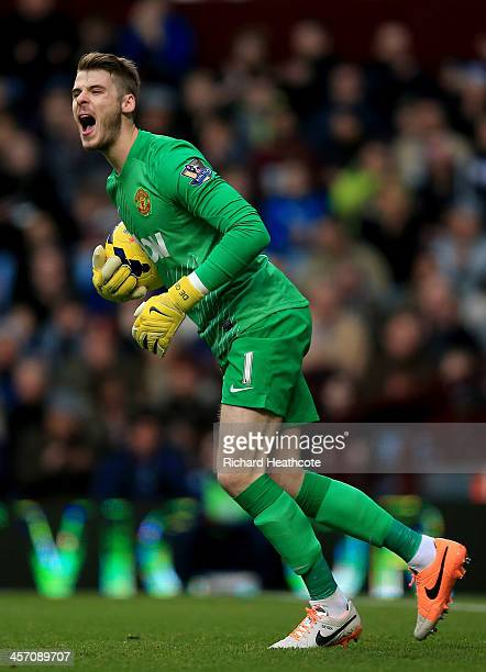 David De Gea of Manchester United in action during the Barclays Premier League match between Aston Villa and Manchester United at Villa Park on...