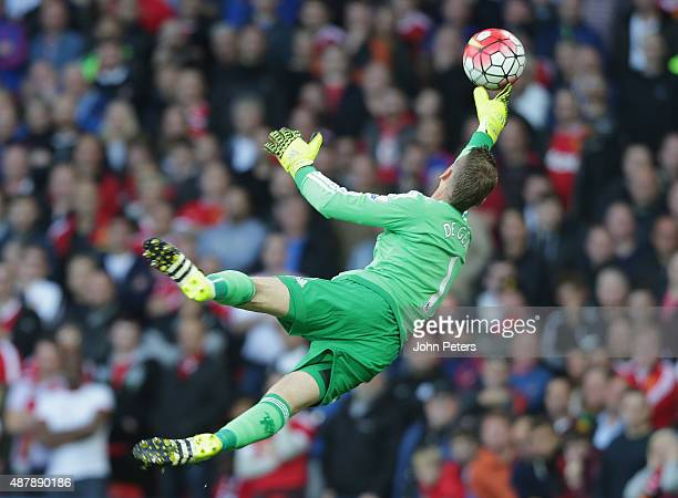 David de Gea of Manchester United in action during the Barclays Premier League match between Manchester United and Liverpool at Old Trafford on...