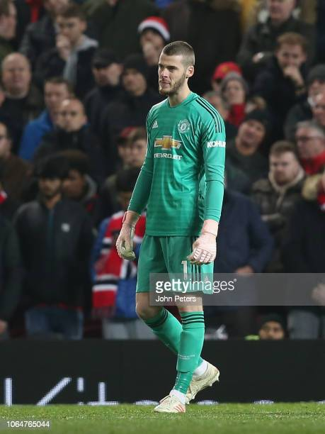 David de Gea of Manchester United in action during the Premier League match between Manchester United and Crystal Palace at Old Trafford on November...