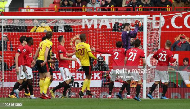 David de Gea of Manchester United in action during the Premier League match between Manchester United and Watford FC at Old Trafford on February 23...