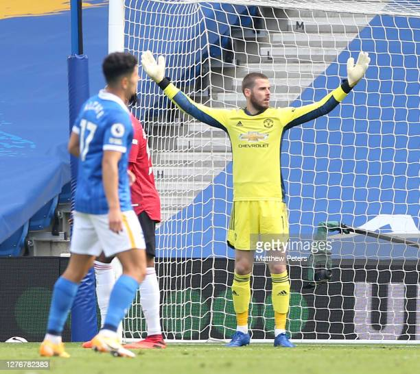 David de Gea of Manchester United in action during the Premier League match between Brighton Hove Albion and Manchester United at American Express...