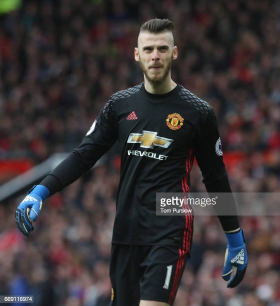 David de Gea of Manchester United in action during the Premier League match between Manchester United and Chelsea at Old Trafford on April 16 2017 in...