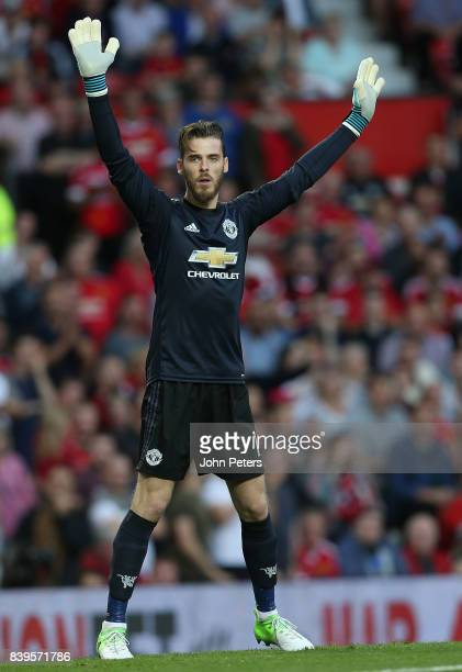 David de Gea of Manchester United in action during the Premier League match between Manchester United and Leicester City at Old Trafford on August 26...
