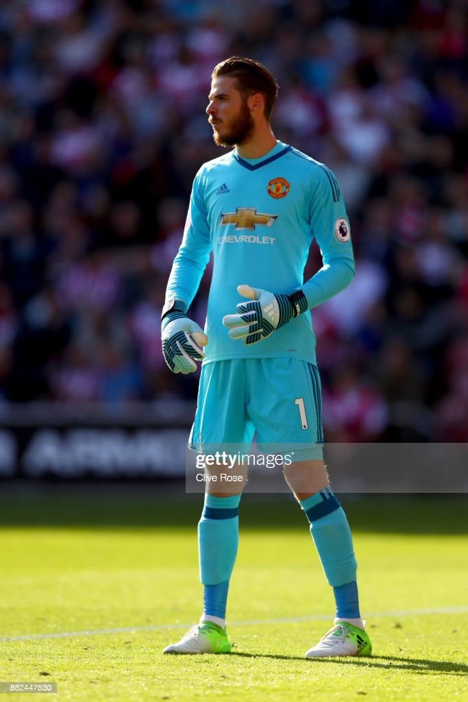 David de Gea of Manchester United in action during the Premier League match between Southampton and Manchester United at St Mary's Stadium on September 23, 2017 in Southampton, England.