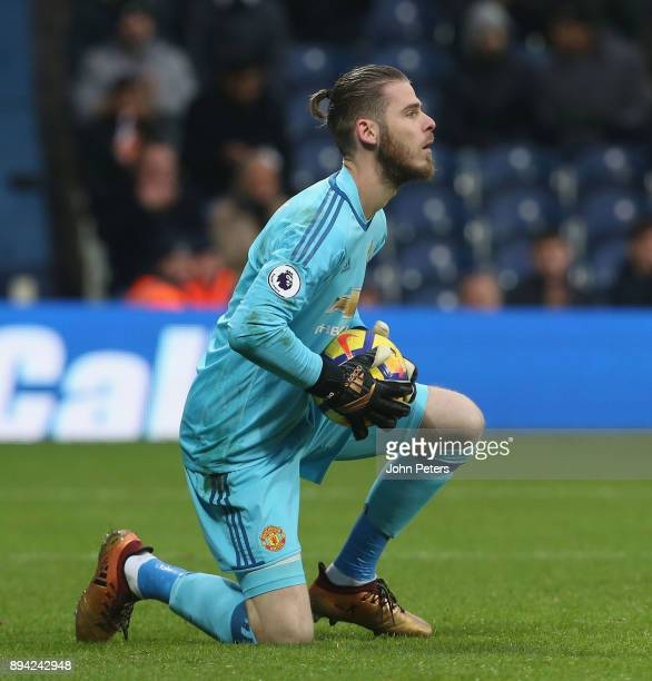 David de Gea of Manchester United in action during the Premier League match between West Bromwich Albion and Manchester United at The Hawthorns on...