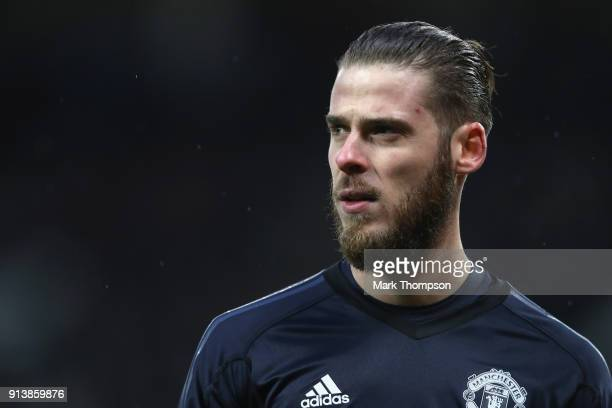 David de Gea of Manchester United in action during the Premier League match between Manchester United and Huddersfield Town at Old Trafford on...
