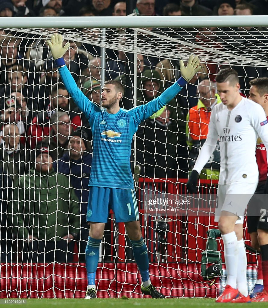 Uefa Champions League Round Of: David De Gea Of Manchester United In Action During The