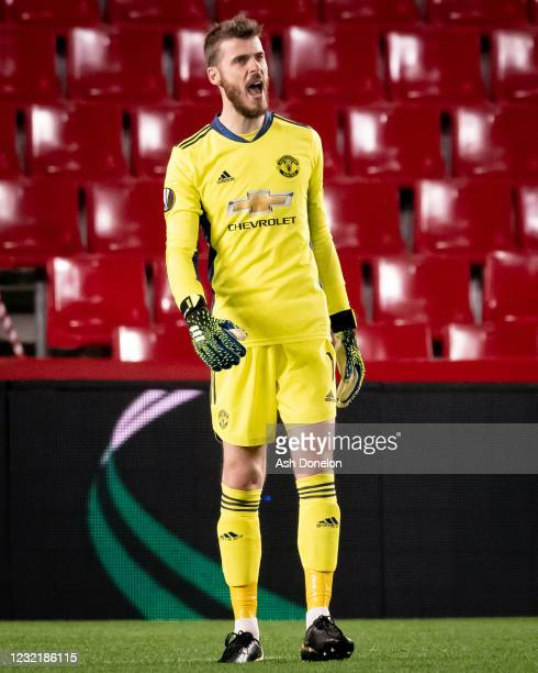 David de Gea of Manchester United in action during the UEFA Europa League Quarter Final First Leg match between Granada CF and Manchester United at...