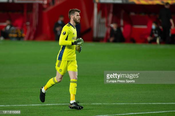 David De Gea of Manchester United in action during the UEFA Europa League, Quarter Final First Leg, football match played between Granada CF and...