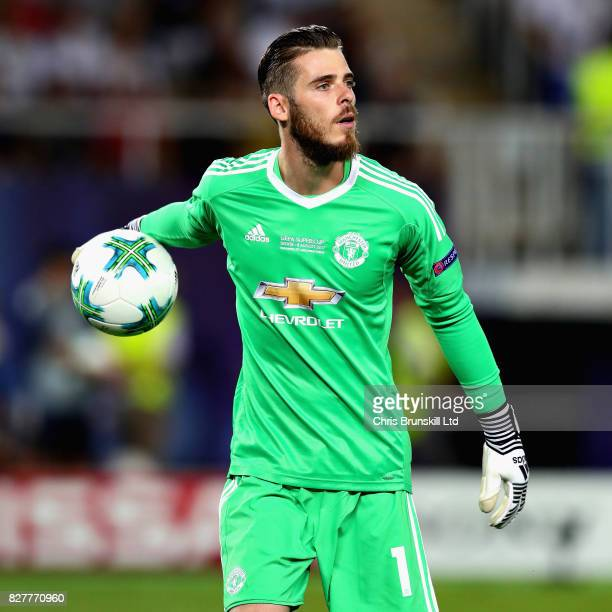 David De Gea of Manchester United in action during the UEFA Super Cup match between Real Madrid and Manchester United at National Arena Filip II...