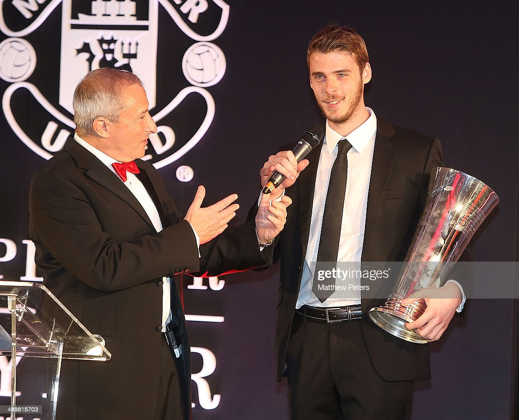 David de Gea of Manchester United is interviewed by host Jim Rosenthal at the Manchester United Player of the Year awards at Old Trafford on May 8, 2014 in Manchester, England.