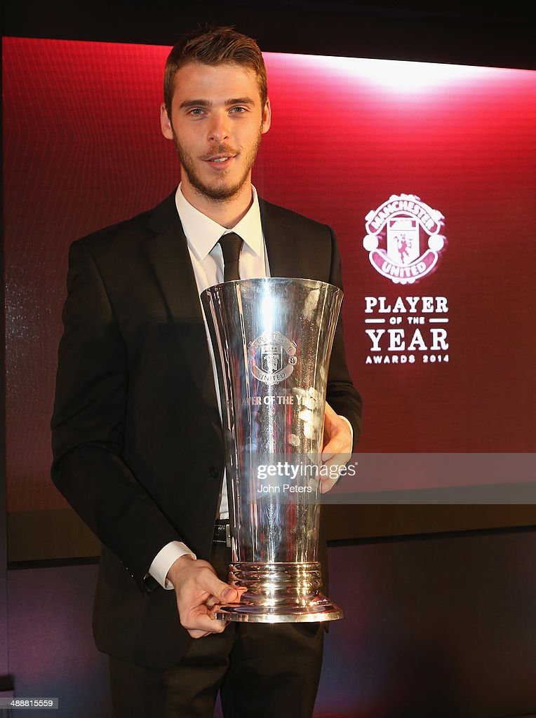 David de Gea of Manchester United is presented with the Players' Player of the Season award at the Manchester United Player of the Year awards at Old Trafford on May 8, 2014 in Manchester, England.