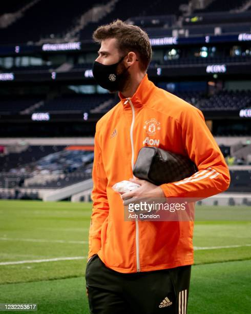 David de Gea of Manchester United leaves the stadium at the end of the Premier League match between Tottenham Hotspur and Manchester United at...