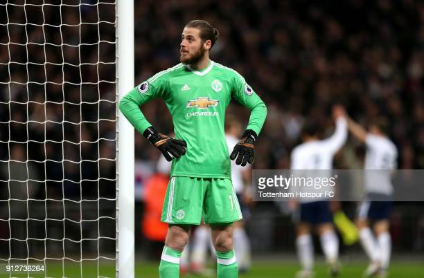 David De Gea of Manchester United looks dejected after conceding during the Premier League match between Tottenham Hotspur and Manchester United at...