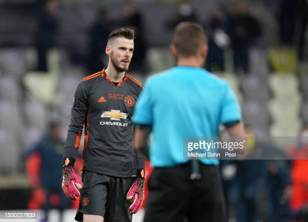 David De Gea of Manchester United looks dejected after missing his team's eleventh penalty and losing the penalty shootout during the UEFA Europa...
