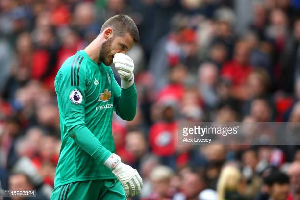 David De Gea of Manchester United looks dejected at half time during the Premier League match between Manchester United and Chelsea FC at Old...