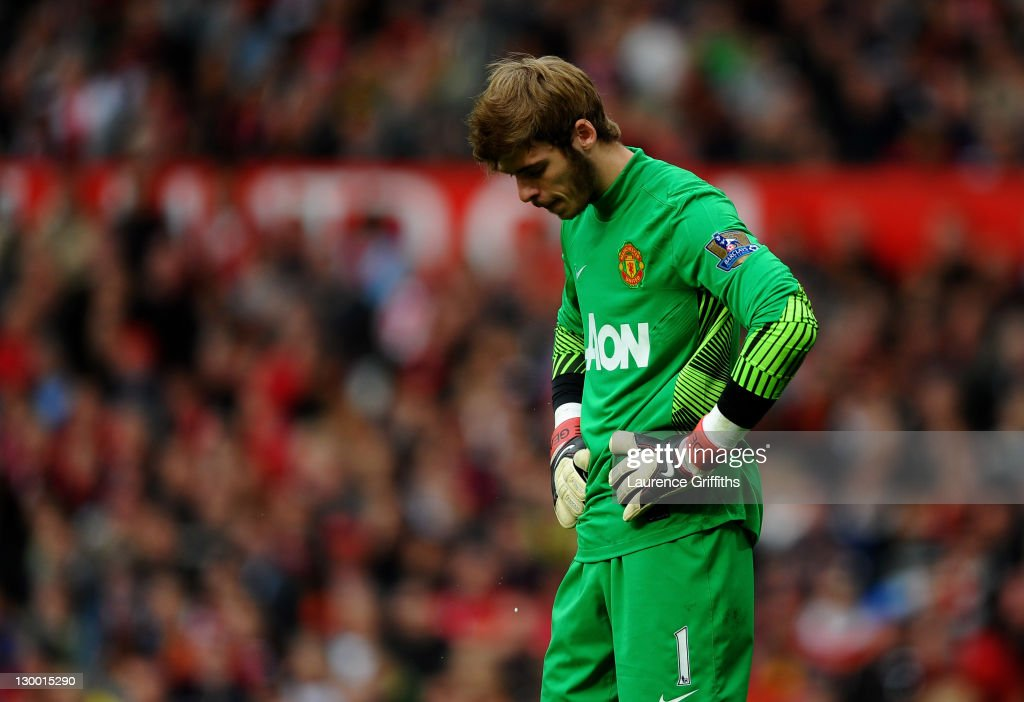 David de Gea of Manchester United looks dejected during the Barclays Premier League match between Manchester United and Manchester City at Old Trafford on October 23, 2011 in Manchester, England.