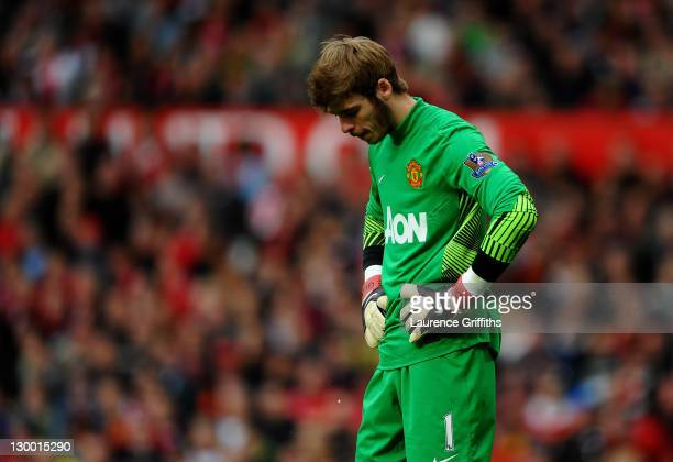 David de Gea of Manchester United looks dejected during the Barclays Premier League match between Manchester United and Manchester City at Old...