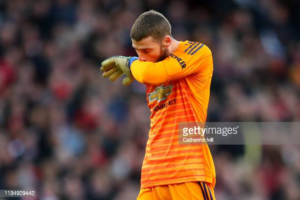 David De Gea of Manchester United looks dejected during the Premier League match between Arsenal FC and Manchester United at Emirates Stadium on...