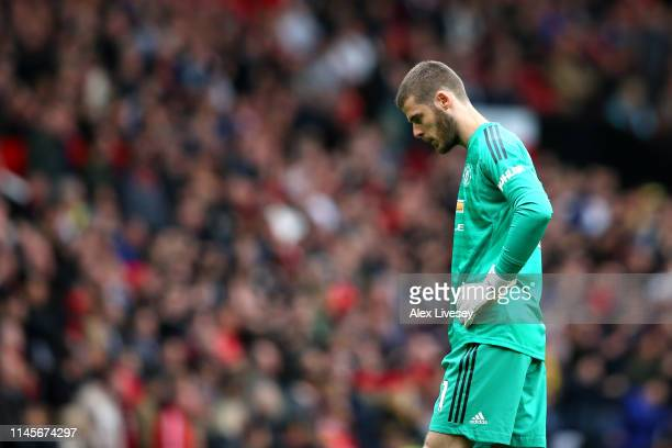 David De Gea of Manchester United looks dejected during the Premier League match between Manchester United and Chelsea FC at Old Trafford on April 28...