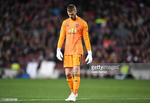 David De Gea of Manchester United looks dejected during the UEFA Champions League Quarter Final second leg match between FC Barcelona and Manchester...