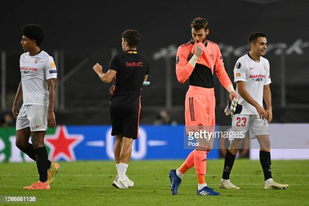 David De Gea of Manchester United looks dejected following his sides defeat in the UEFA Europa League Semi Final between Sevilla and Manchester...