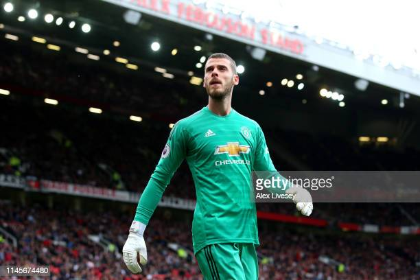 David De Gea of Manchester United looks on during the Premier League match between Manchester United and Chelsea FC at Old Trafford on April 28, 2019...