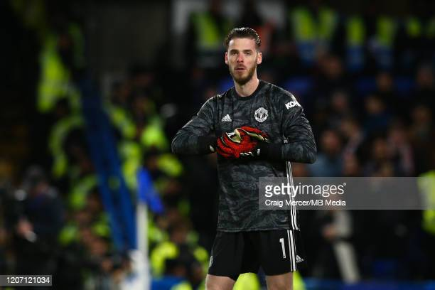 David de Gea of Manchester United looks on during the Premier League match between Chelsea FC and Manchester United at Stamford Bridge on February 17...