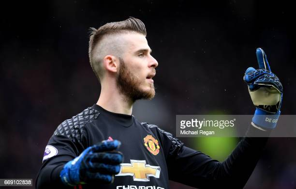 David De Gea of Manchester United looks on during the Premier League match between Manchester United and Chelsea at Old Trafford on April 16 2017 in...