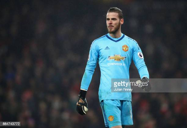 David De Gea of Manchester United looks on during the Premier League match between Arsenal and Manchester United at Emirates Stadium on December 2...