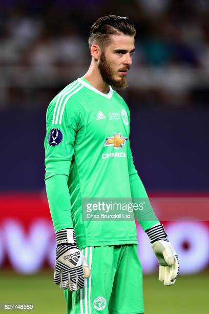 David De Gea of Manchester United looks on during the UEFA Super Cup match between Real Madrid and Manchester United at National Arena Filip II...