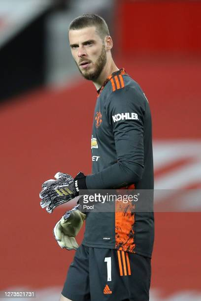 David De Gea of Manchester United looks on following the Premier League match between Manchester United and Crystal Palace at Old Trafford on...