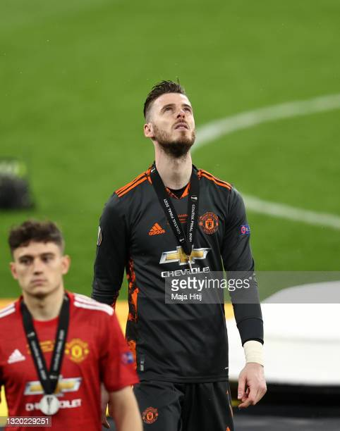 David De Gea of Manchester United looks up to the sky dejected following the UEFA Europa League Final between Villarreal CF and Manchester United at...
