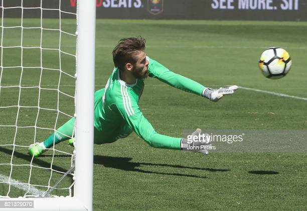 David de Gea of Manchester United makes a save during the International Champions Cup 2017 preseason friendly match between Real Madrid and...