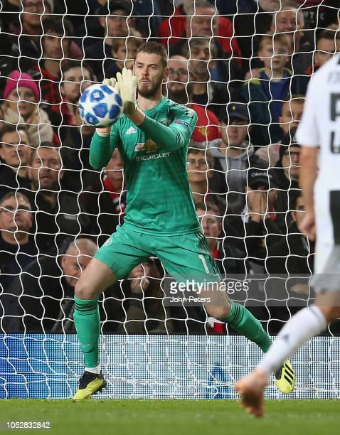 David de Gea of Manchester United makes a save during the Group H match of the UEFA Champions League between Manchester United and Juventus at Old...