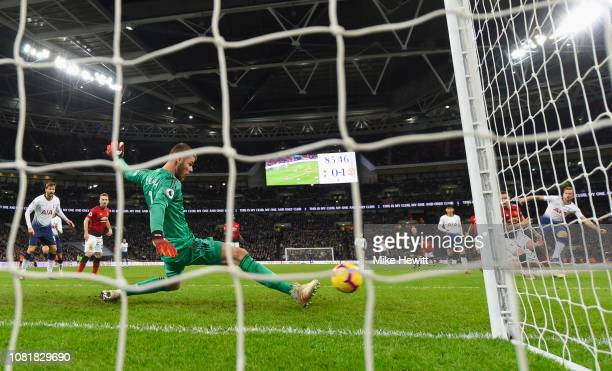 David De Gea of Manchester United makes a save from Harry Kane of Tottenham Hotspur during the Premier League match between Tottenham Hotspur and...