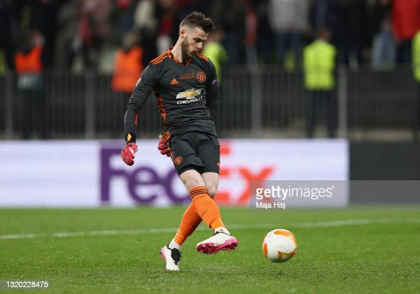 David de Gea of Manchester United mduring the UEFA Europa League Final between Villarreal CF and Manchester United at Gdansk Arena on May 26, 2021 in...