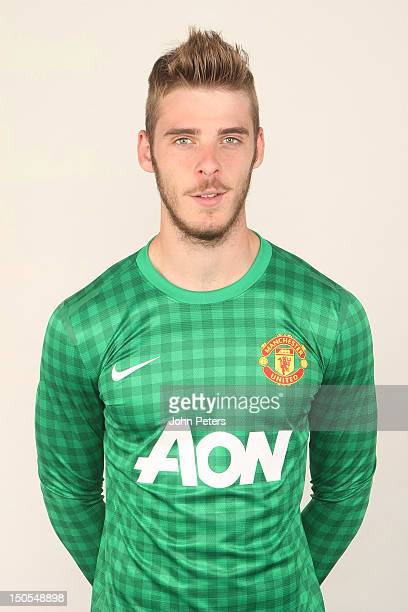 David de Gea of Manchester United poses in the new Manchester United kit at Carrington Training Ground on August 21 2012 in Manchester England