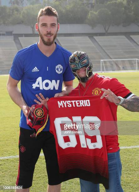 David de Gea of Manchester United poses with wrestler Rey Mysterio ahead of a first team training session as part of their preseason tour of the USA...