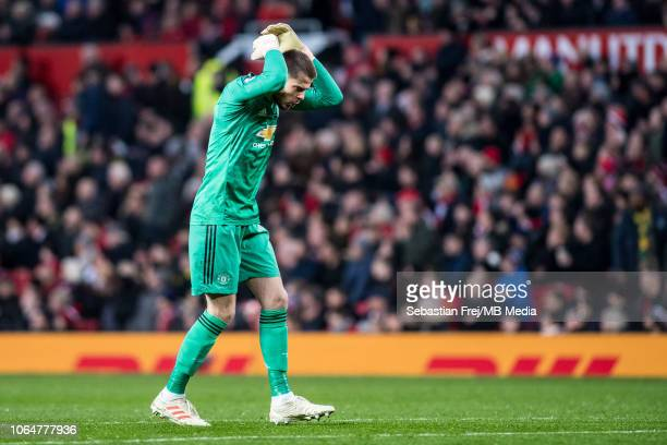 David de Gea of Manchester United reaction during the Premier League match between Manchester United and Crystal Palace at Old Trafford on November...