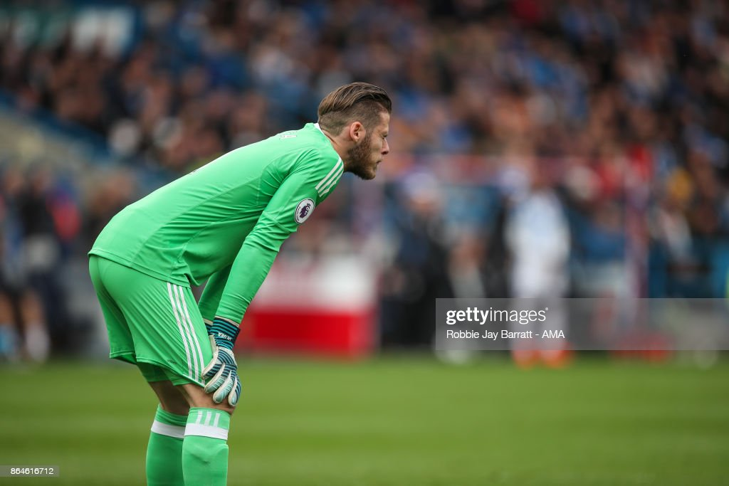 David de Gea of Manchester United reacts after conceding to make it 2-0 during the Premier League match between Huddersfield Town and Manchester United at John Smith's Stadium on October 21, 2017 in Huddersfield, England.