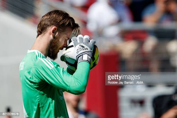 David de Gea of Manchester United reacts after missing a penalty save during the International Champions Cup 2017 match between Real Madrid v...