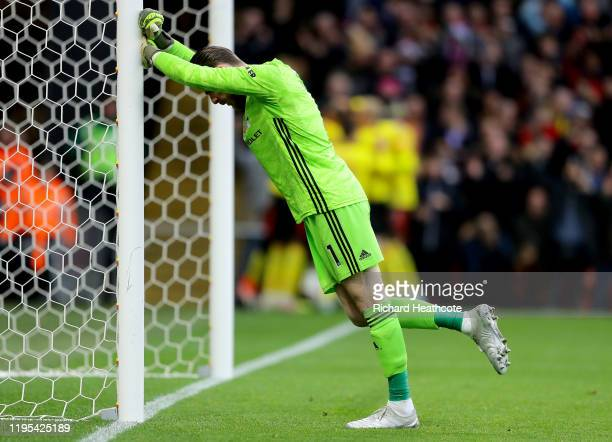 David De Gea of Manchester United reacts after Watford score the second goal during the Premier League match between Watford FC and Manchester United...