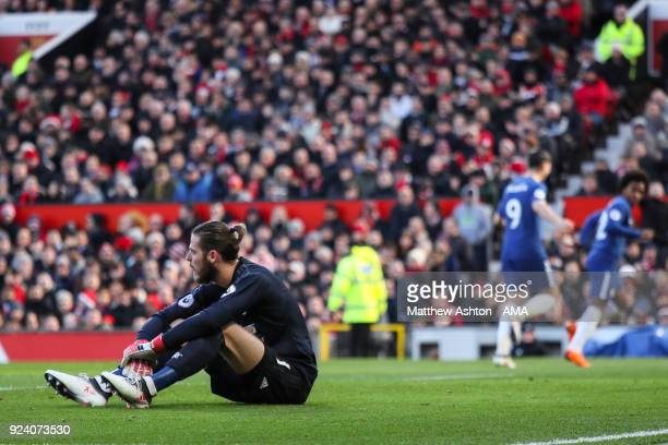 David de Gea of Manchester United reacts after Willian of Chelsea scores a goal to make it 01 during the Premier League match between Manchester...